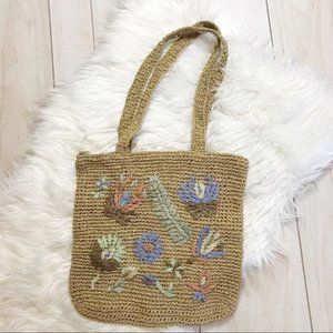 Paper Woven Floral Embroidered Lined Tote Bag